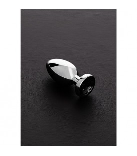JEWELED PLUG METaLICO PEQUENO CON PERLA NEGRO