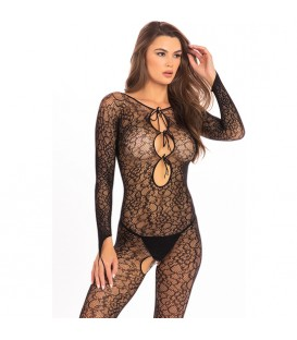 CROTCHLESS LACE BODY DE MALLA NEGRO