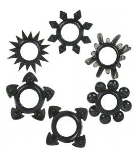 ANILLOS SILICONA TOWER OF POWER 6 PACK NEGRO