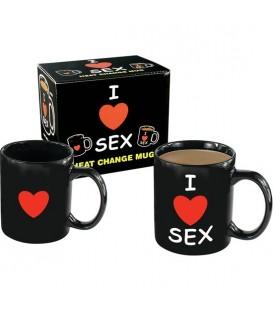 TAZA CON MENSAJE I LOVE SEX