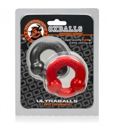 OXBALLS ULTRABALLS PACK 2 ANILLOS METAL ROJO